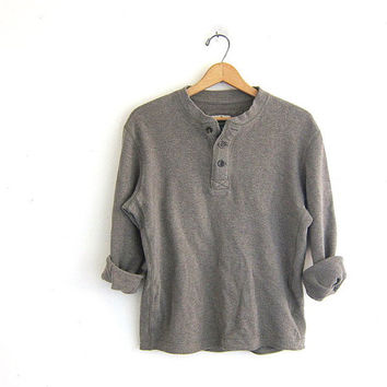 vintage long sleeve brown top. button front henley. thermal shirt. size small