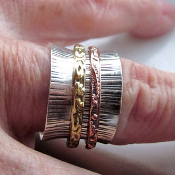Sterling spinner ring 925 spinner ring silver spinner ring copper bands brass bands eternity rings wedding bands stacking rings sz 3/4 stack