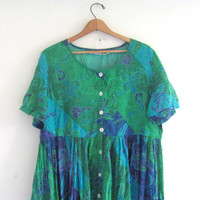 Vintage floral sundress / thin cotton button down dress / long green floral dress / size L