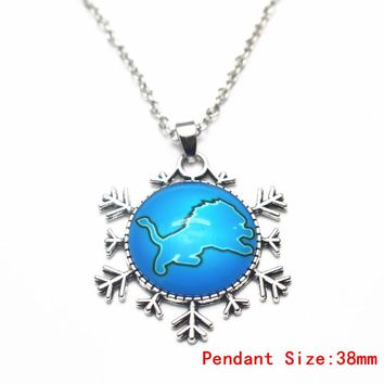 3pcs Round Detroit Lions Football Team Glass Pendant Necklace Silver 50cm Chains Necklace For Women Men Necklace Jewelry