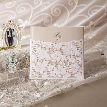 Lace Wedding Invitations Laser Cut Printable Customized Unique Set, Bridal Shower - Pack of 50