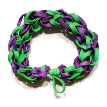Green and Purple Rubber Band Bracelet - Milwaukee Bucks NBA Colors, Sports