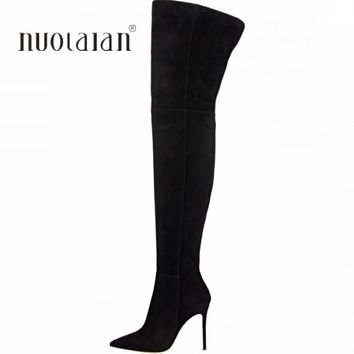 10.5 CM High Heels Thigh high Boots Shoes Women Winter Snow Shoe Woman Black Stretch Slim Over The Knee Boots Long Winter boot