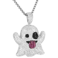 Iced Out Emoji Character Silver Ghost Pendant