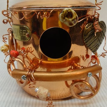 Whimsical, Repurposed, Coffee Lover, Copper Plated, Kitchen Coffee Canister Birdhouse- BH-058