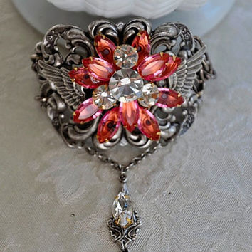 ROMANTIC WINGS  swarovski crystal ROSE vintage by cynthiacouture