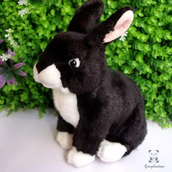 Black Rabbit Stuffed Animal Plush Toy 10""