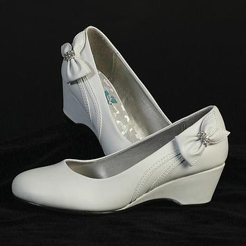 Gina Girls Wedge Shoe with Bow