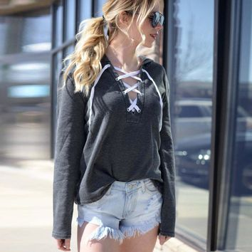 'Lacy' Hoodie Lace Up Sweatshirt