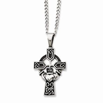 Stainless Steel Antiqued Claddagh Pendant On Necklace