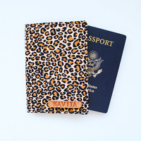 Personalized passport Cover, Leopard Employee Gift Passport Cover, Leopard Passport Holder - SKPC29