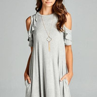 Baby Blue Cold -Shoulder Ruffle Dress