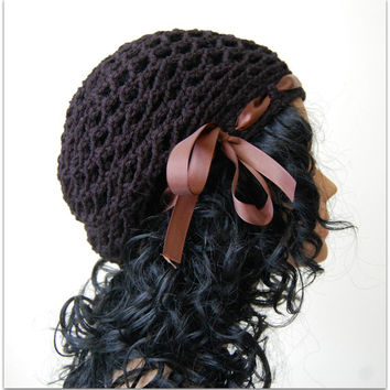 Women Crochet Beanie Hat - Black Handmade Crochet Hat with Ribbon - Fall and Winter accessories - Gift Ideas for her -