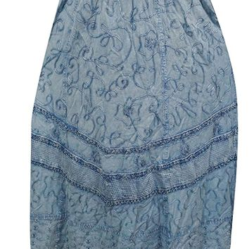 Mogul Womens Long Skirt Blue Embroidered Flare Sexy Boho Vintage Maxi Skirts