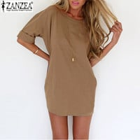 2016 Summer Style Fashion Women Casual Loose Dress Sexy Ladies Short Sleeve Solid Color Mini Dresses  Plus Size
