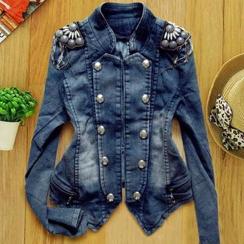 New Women's Denim Jean Trench Casual Coat Hoodie Jacket Hooded Jeans Outerwear Sv005836 (size: Xxs Color: Blue) = 1902775620