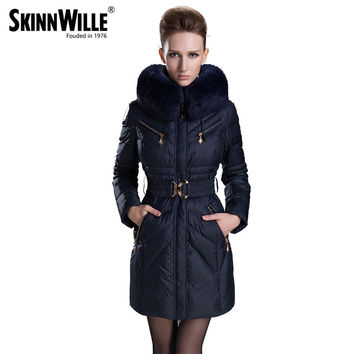 2016 fashion fur collar thickening slim women's female medium-long down coat winter outerwear female