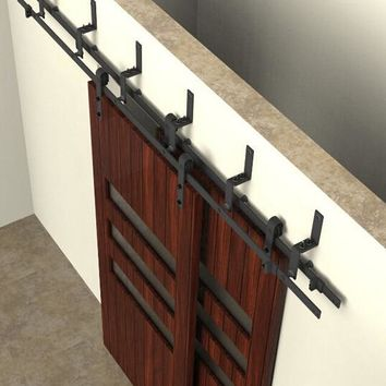 150cm / 183cm / 200cm / 244cm  Bypass Sliding Barn Wood Door Hardware Interior Sliding Door Black Rustic Sliding Track Kit