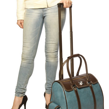 Blue & Brown Leather Like Rolling iPad, Tablet or Computer Laptop Bag