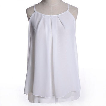 Summer Women Blouses Lady Candy Color Camis Shirts Sexy Chiffon Spaghetti Strap Vest Double Layer Shirt = 1958665348