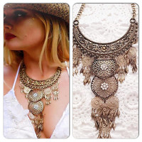 Gypsy statement necklace, Bohemian festival Jewelry, boho necklace, True Rebel clothing