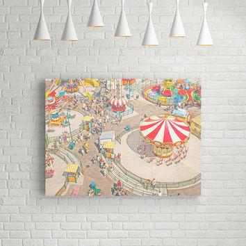 Canvas Print, Coney Island Art, Canvas Art Print, Carnival Canvas Print - Ride the Sky 40x30