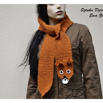 Long Orange squirrel  scarf , hand knit scarf , Orange scarf , Scarf Made to order