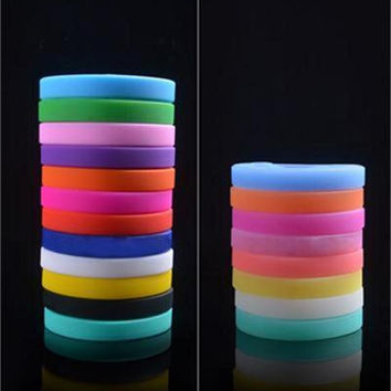 Trendy Silicone Rubber Flexible Wristb  Wrist B  Cuff Bracelet Bangle For Women Men SM6