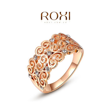 ROXI Brand 2015 Free Shipping Rose Gold Plated Fashion Pierced Heart Rings Best Gift Stainless Steel Vintage Ring 2010459250b
