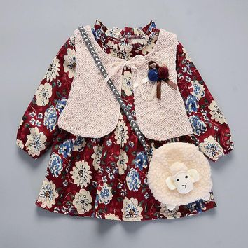 SOKOBX Winter Baby Girls Cotton Flower Print Long Sleeve Thick Dress Kids Vestido Dresses infantil 9 STYLE