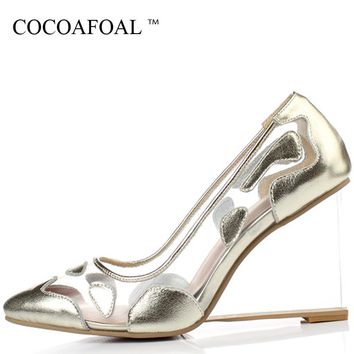 COCOAFOAL Woman Gold Clear Heels Shoes Fashion Sexy Silver Transparent Heels Shoes Plus Size 33 - 42 Red Ball Wedding Pumps 2018