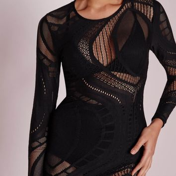 Missguided - Sheer Lace Swirl Midi Dress Black