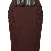 LE3NO Womens Fitted High Waisted Midi Skirt with Faux Leather Belt (CLEARANCE)