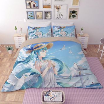 Fashion Cool Blue black Hatsune Miku Kawaii girl Japanese Anime Bedding Set Single double size Bed Sheet Pillowcase Duvet Cover