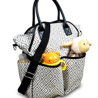 Premium Diaper Bag by Laiya Baby: Large Fashion Diaper Tote with Crossbody Strap (Gray/white pattern)