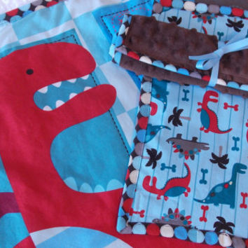 Dinosaur Baby Boy Toddler Quilt Blanket with Brown Minky Backing