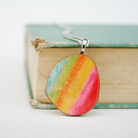 rainbow necklace watercolor by starlightwoods on Etsy