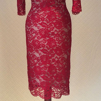Lace dress, red lace dress, cocktail dress, prom dress, elegant dress, party dress, evening dress, day dress,