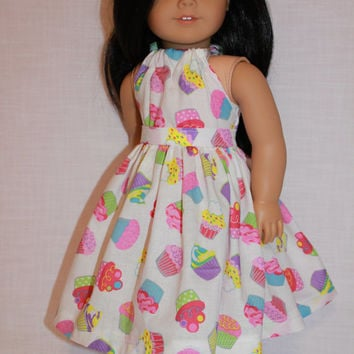 2 piece set! white cupcake print halter dress with matching belt, 18 inch doll clothes, american girl, maplelea