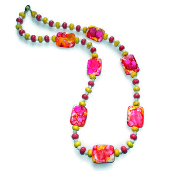 Hot Pink and Yellow Shell Beaded Necklace