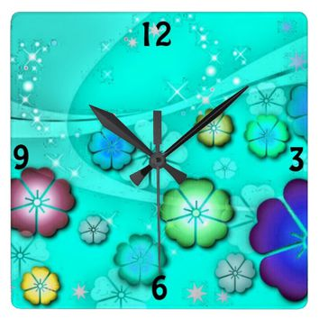 Trendy colorful flowers square wall girly clock