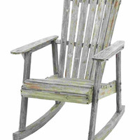 Benzara Antique Old Fashioned Rocking Chair With Aged Wood