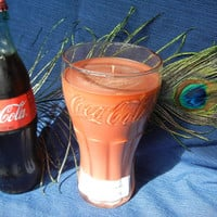 Cola Scented Soy Candle Hand Poured in Authentic Coca Cola Glass Unique Gift Idea Party Favor