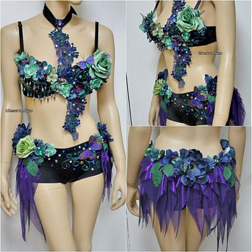 Dark Fairy Costume Cosplay Dance Rave Bra Halloween Burlesque Show Girl Photo prop