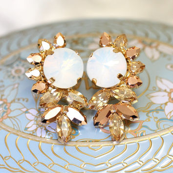 Bridal Earrings, Bridal Rose Gold Earrings,White Opal Earrings, Swarovski Bridal Earrings,Bridesmaids Earrings, Bridal Gold Crystal Earrings