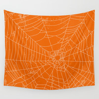 Spider Web – orange & white Wall Tapestry by Creative Break