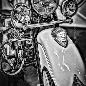 classic motorcycle art, Indian Chief motorcycle, vintage motorcycle photo, motorcycle decor, vintage Indian, retro black and white, biker