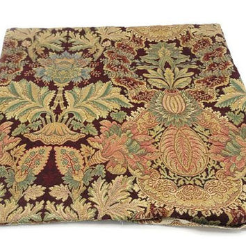 Reversible Tapestry Pillow Cover Burgundy Green Gold Red Flora And Fauna