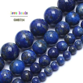 ac spbest Natural Lapis Lazuli Stone Beads 100% not dyed Stone Beads For Jewelry Making 15inches 4/6/8/10mm Gem Stone Beads Diy Bracelet