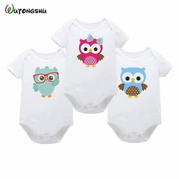 Animal owl Baby Girls Boys Bodysuits Soft Cotton Short Sleeve New Born Baby Clothes Infant Summer Spring Body Suits For 0-12Mon